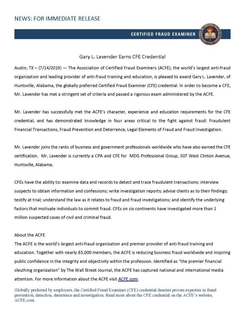 Press Release - CFE 2018
